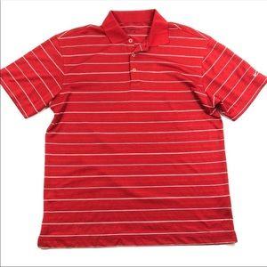 Red White Striped Nike Golf Polo Shirt